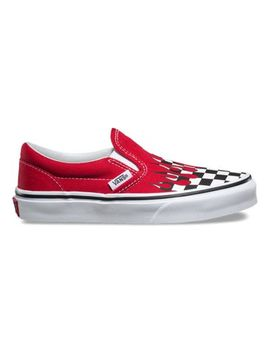 Kids Checker Flame Slip On by Vans