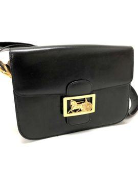 Authentic Celine Carrier Hardware Vintage Shoulder Bag Black Leather by Celine