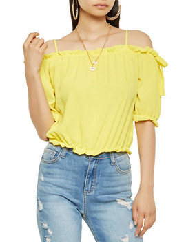 Ruffle Trim Off The Shoulder Crop Top by Rainbow