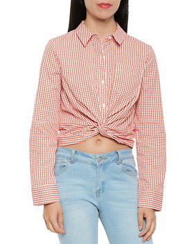 Twist Front Gingham Button Front Top by Rainbow
