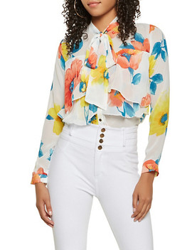 Sheer Floral Tiered Blouse by Rainbow