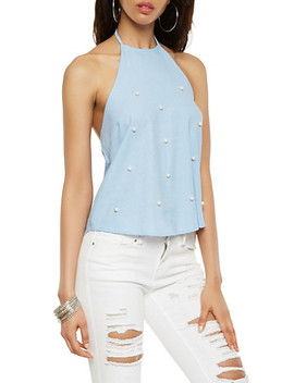 Faux Pearl Studded Halter Top by Rainbow