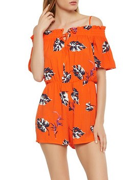 Printed Off The Shoulder Romper by Rainbow