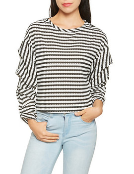 Striped Bubble Sleeve Blouse by Rainbow