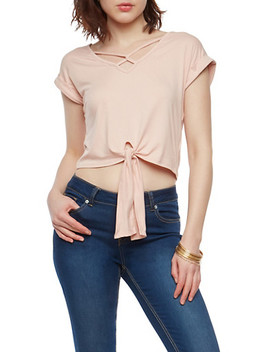 Tie Front Loop Caged Neck Top by Rainbow