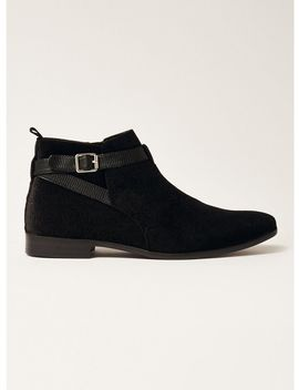 Black Faux Suede Fisco Buckle Boots by Topman