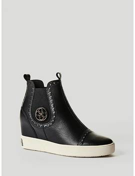 Freddie Leather Wedge Sneaker by Guess