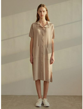 A Collar Knit Dress   Beige by Among