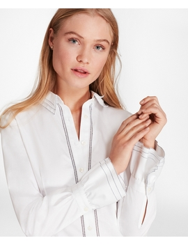 Cotton Sateen Ruffle Cuff Shirt by Brooks Brothers