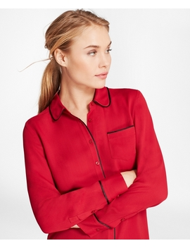 Piped Georgette Shirt by Brooks Brothers