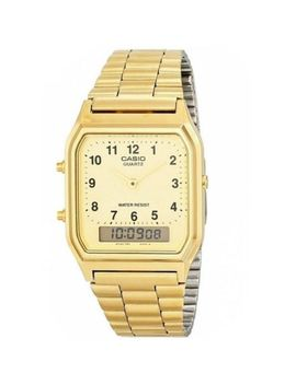 Casio Aq 230 A Dual Time Silver &Amp; Gold Retro Stainless Steel Analog Digital Watch by Casio