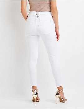 Lace Up High Waist Skinny Jeans by Charlotte Russe