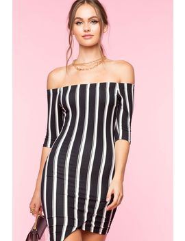 So Pressed Stripe Bodycon Dress by A'gaci