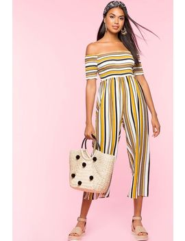 Stripe Smocked Off Shoulder Jumpsuit by A'gaci