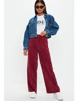 Burgandy Cord Wide Leg Trousers by Missguided