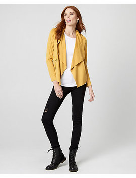 Suede Like Open Front Jacket by Le Chateau