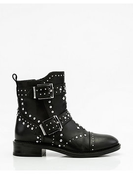 Studded Leather Biker Boots by Le Chateau