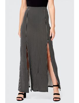 Stripe Split Front Maxi Skirt by Select