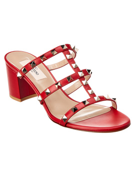 Valentino Rockstud Leather Cage Sandal by Valentino