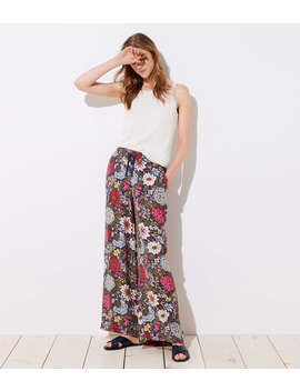 Hydrangea Garden Fluid Drawstring Pants by Loft
