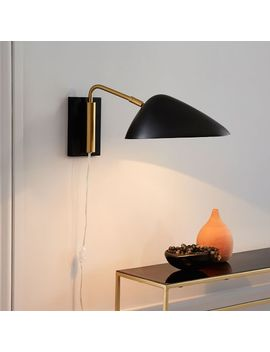 New Curvilinear Mid Century Sconce, Short Arm, Black,Brass by West Elm