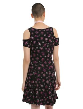 Music Note Floral Cold Shoulder Dress by Hot Topic