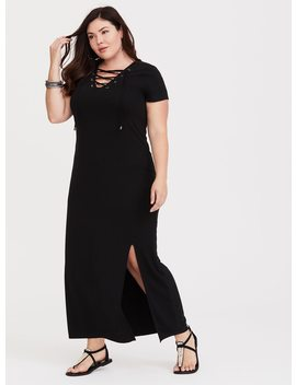 Black Lace Up Jersey T Shirt Dress by Torrid