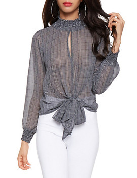 Printed Tie Front Blouse by Rainbow