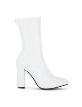 White Pointed Sock Boots by Koi Footwear