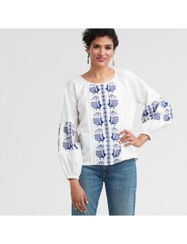 Blue And White Peacock Peasant Top by World Market