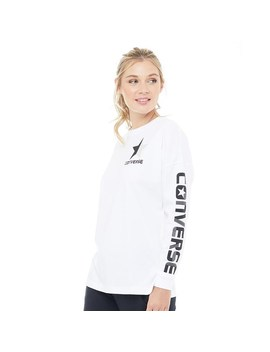 Converse Womens Split Star Wordmark Long Sleeve T Shirt Optical White by Mand M Direct
