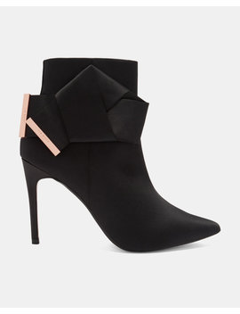 Knotted Bow Satin Ankle Boots by Ted Baker