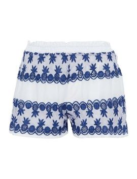 Cotton Poplin Paneled Crocheted Shorts by Miguelina