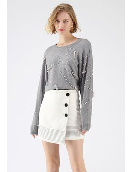 Dancing Pearls Knit Top In Grey by Chicwish