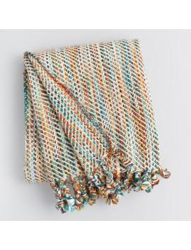 Blue Multicolor Stitch Fringe Throw Blanket by World Market