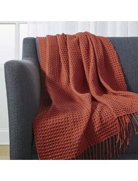 Cecili Rust Waffle Weave Throw by Crate&Barrel