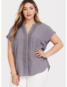 Grey Dolman Georgette Blouse by Torrid