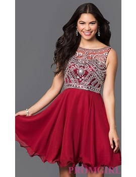 Short A Line Plus Size Prom Dress With Jeweled Bodice by Promgirl