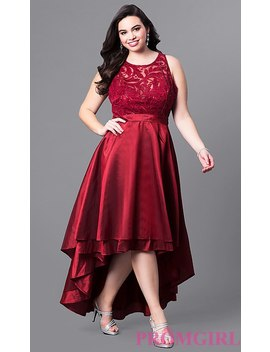 Plus Size High Low Prom Dress With Illusion Lace by Promgirl