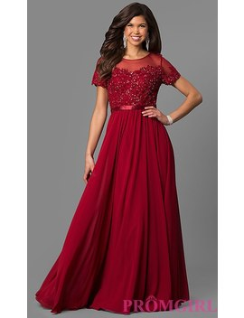 Plus Size Long Formal Dress With Sleeved Sheer Bodice by Promgirl