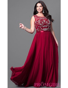 Long Sleeveless Plus Size Prom Dress With Jewels by Promgirl