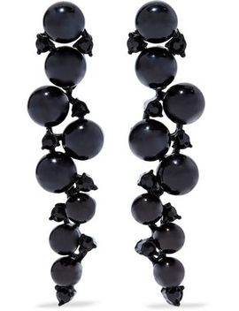 Bead, Crystal And Gunmetal Tone Earrings by Kenneth Jay Lane