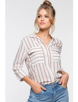 Melissa Stripe Collared Shirt by A'gaci