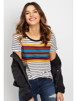 24/7 Stripe Crew Neck Tee by Maurices