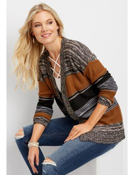 Spacedye Striped Cardigan by Maurices