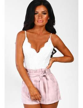 Miss Kensington Pink Check High Waisted Shorts by Pink Boutique