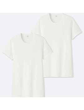 Men 100% Supima Cotton T Shirt  (2 Pack) (Short Sleeve) by Uniqlo