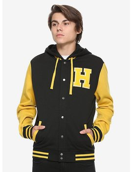 Harry Potter Hufflepuff Black &Amp; Yellow Varsity Hoodie by Hot Topic