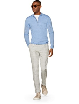 Light Blue Long Sleeve Polo Jort by Suitsupply