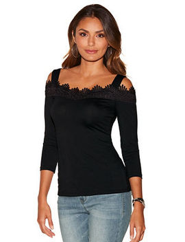 So Sexy™ Cold Shoulder Lace Neckline Top by Boston Proper